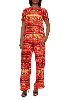 Printed High-Low Top and Drawstring Pants Set - 0045038347410