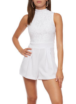 Sleeveless Lace Romper - WHITE - 0045038347891