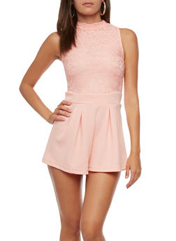 Sleeveless Lace Romper - 0045038347891
