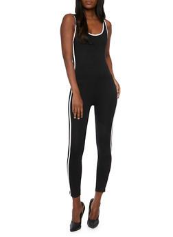 Sleeveless Catsuit with Varsity Stripes - BLACK - 0045038347981
