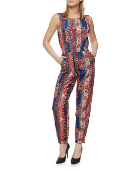 Printed Sleeveless Jumpsuit with Caged Back - 0045038348310