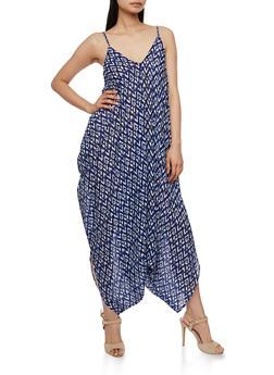 Printed Sleeveless Parachute Jumpsuit - BLUE - 0045038348329