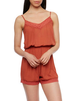 Gauzy Knit Romper with Crochet Trim - 0045038348330