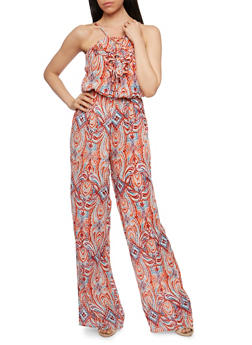 Printed Sleeveless Jumpsuit with Ruffled Lace Up Neckline Detail - 0045038348335