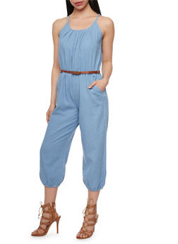 Denim Halter Neck Cropped Jumpsuit with Belt - LIGHT WASH - 0045038348340