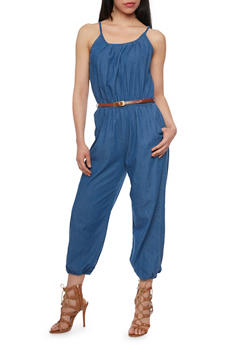 Denim Halter Neck Cropped Jumpsuit with Belt - MEDIUM WASH - 0045038348340