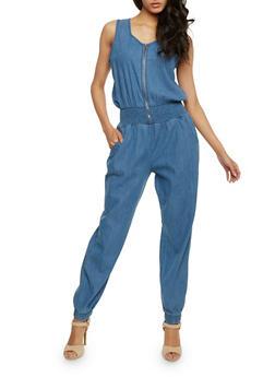 Sleeveless Zip Front Denim Jumpsuit with Smocked Waist - MEDIUM WASH - 0045038348342