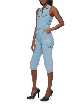 Zip Front Chambray Jumpsuit with Drawstring - LIGHT WASH - 0045038348343