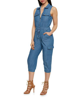 Zip Front Chambray Jumpsuit with Drawstring - MEDIUM WASH - 0045038348343
