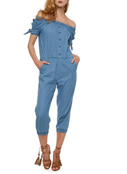 Off the Shoulder Denim Capri Jumpsuit - 0045038348344