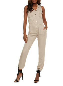 Button Front Sleeveless Jumpsuit with Cinched Waist - 0045038348345
