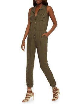 Button Front Sleeveless Jumpsuit with Cinched Waist - OLIVE - 0045038348345