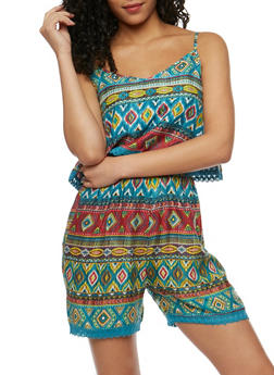 Printed Romper with Crochet Trim Overlay - TEAL - 0045038348350