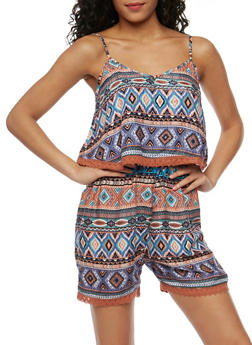 Printed Romper with Crochet Trim Overlay - CORAL - 0045038348350
