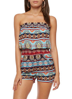 Printed Strapless Romper - 0045038348354