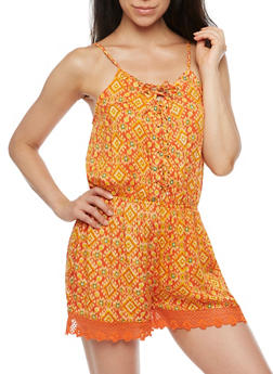 Sleeveless Printed Romper with Lace Up Front - 0045038348357