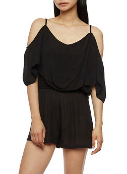 Off the Shoulder Overlay Romper - 0045038348366