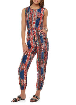 Printed Caged Back Jumpsuit - 0045038349304
