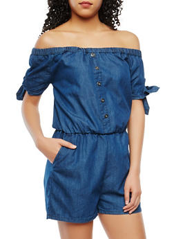 Tie Sleeve Chambray Romper - 0045038349342