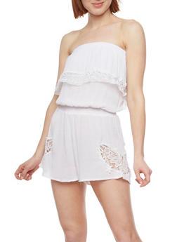 Strapless Crochet Detailed Romper - WHITE - 0045051060713