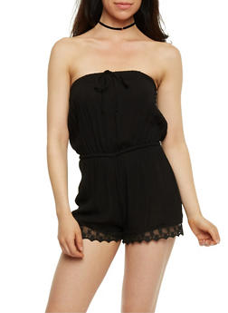 Strapless Gauzy Romper with Lace Trim - BLACK - 0045051060732