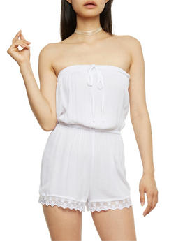 Strapless Gauzy Romper with Lace Trim - WHITE - 0045051060732