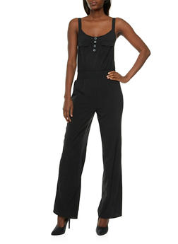 Wide Leg Jumpsuit with Buttoned Neckline and Smocked Waist - 0045051060734