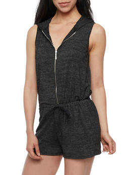 Hooded Zip Front French Terry Romper - BLACK - 0045051060825