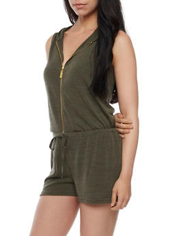 Hooded Zip Front French Terry Romper - OLIVE - 0045051060825