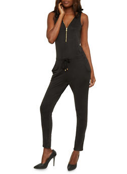 Zip Front Sleeveless Jumpsuit with Drawstring Waist - BLACK - 0045051060846