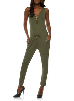 Zip Front Sleeveless Jumpsuit with Drawstring Waist - OLIVE - 0045051060846