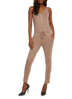 Zip Front Sleeveless Jumpsuit with Drawstring Waist - MOCHA - 0045051060846