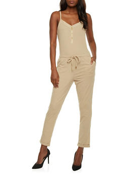 Sleeveless Mid Zip Jumpsuit - KHAKI - 0045051060849