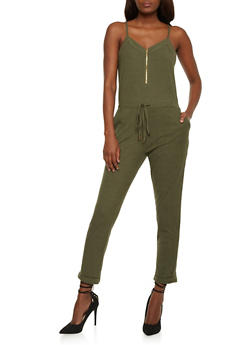 Sleeveless Mid Zip Jumpsuit - OLIVE - 0045051060849