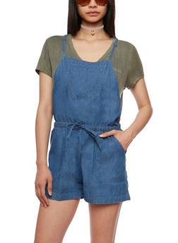 Sleeveless Racerback Denim Romper - 0045051060916