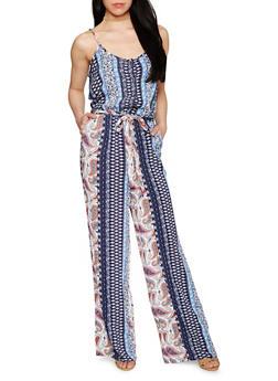 Sleeveless Printed Spaghetti Strap Jumpsuit - NAVY - 0045051060936