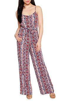 Sleeveless Printed Spaghetti Strap Jumpsuit - BLUE - 0045051060936