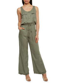 Solid Sleeveless Button Front Jumpsuit - SAGE - 0045051060938