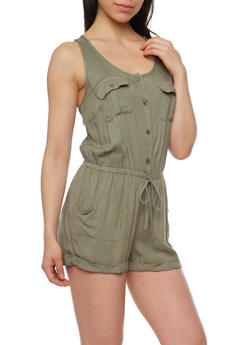 Sleeveless Button Front Romper with Cinched Waist - OLIVE - 0045051060939