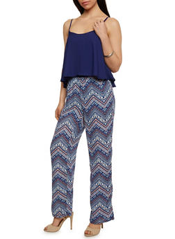 Sleeveless Sheer Overlay Jumpsuit with Printed Bottom - RYL BLUE - 0045051060942