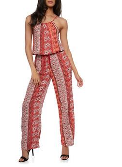 Printed Halter Jumpsuit - PEACH - 0045051060943