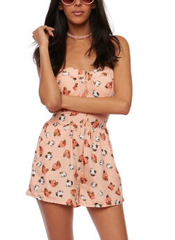 Strapless Floral Zip Front Romper - CORAL-PEACH - 0045051060944