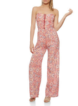 Strapless Printed Jumpsuit with Front Zip Detail - 0045051060945