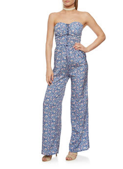 Strapless Printed Jumpsuit with Front Zip Detail - BLUE - 0045051060945
