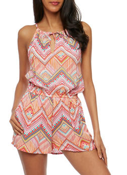 Aztec Print Romper with Cinched Waist - PINK - 0045051060946