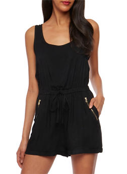 Sleeveless Rolled Cuff Romper - BLACK - 0045051060949