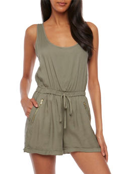 Sleeveless Rolled Cuff Romper - OLIVE - 0045051060949