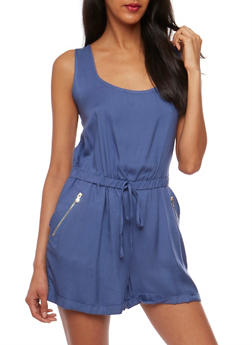 Sleeveless Rolled Cuff Romper - 0045051060949