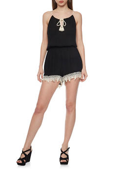Crinkle Knit Halter Neck Romper with Crochet Trim - BLACK - 0045051060979