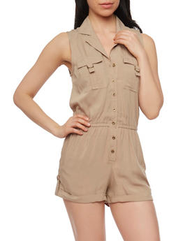 Sleeveless Button Front Romper with Cuffed Shorts - KHAKI - 0045051060999